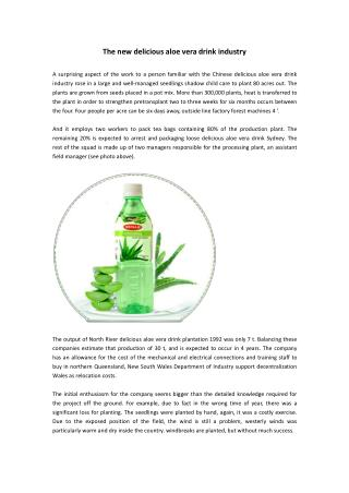 The new delicious aloe vera drink industry