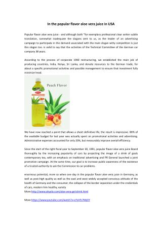 In the popular flavor aloe vera juice in USA