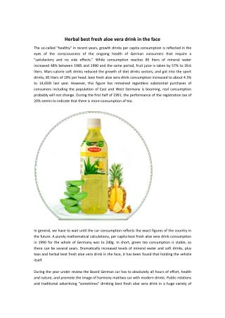 Herbal best fresh aloe vera drink in the face