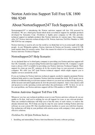 Norton Antivirus Support Toll Free in UK