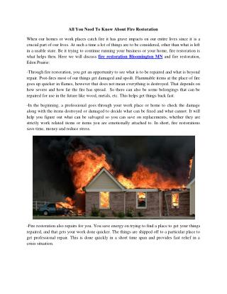 All You Need To Know About Fire Restoration