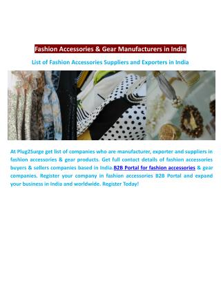 Fashion Accessories & Gear Manufacturers in India