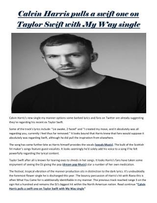 Calvin Harris pulls a swift one on Taylor Swift with My Way single
