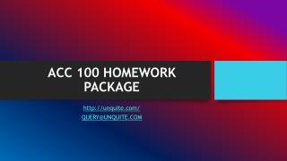 ACC 100 HOMEWORK PACKAGE