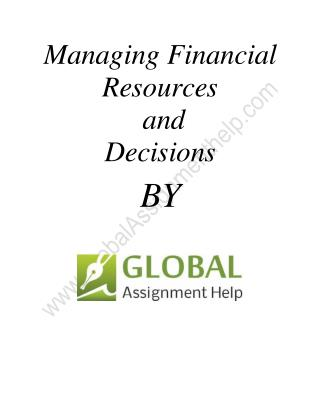 Sample  on Managing Financial Resources and Decisions