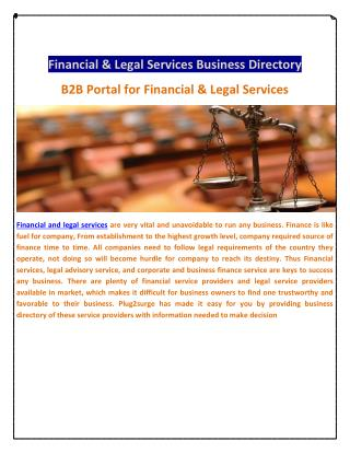 Financial & Legal Services Business Directory