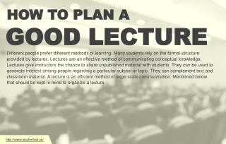How lecturers plan out a good lecture?