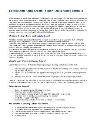 L'etoile Anti Aging Cream - Super Rejuvenating Formula