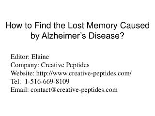 How to Find the Lost Memory Caused by Alzheimer's Disease