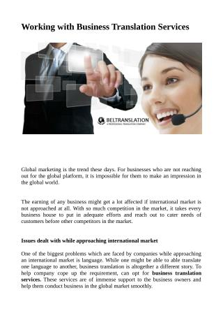 Working with Business Translation Services
