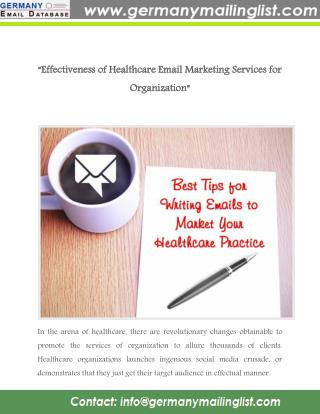 Effectiveness of Healthcare Email Marketing Services for Organization