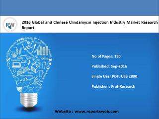 Clindamycin Injection  Market Report Trends and Forecast 2016