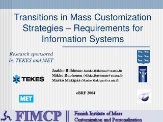 Transitions in Mass Customization Strategies   Requirements ...