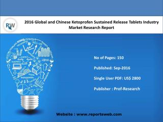 Ketoprofen Sustained Release Tablets Market Report Key Players Analysis and Forecast 2016