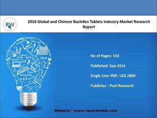 Baclofen Tablets Market Report Key Players Analysis and Forecast 2016
