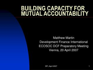 BUILDING CAPACITY FOR MUTUAL ACCOUNTABILITY