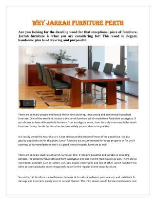 Why Jarrah Furniture Perth