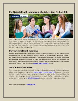Buy Students Health Insurance in USA to Save Your Medical Bills