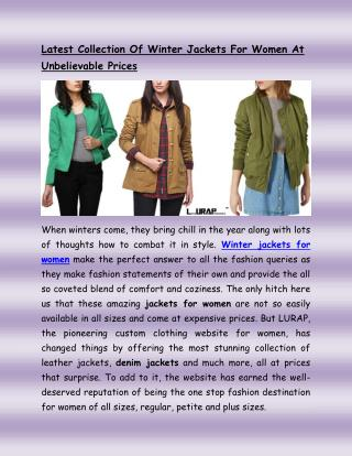 Latest Collection Of Winter Jackets For Women At Unbelievable Prices