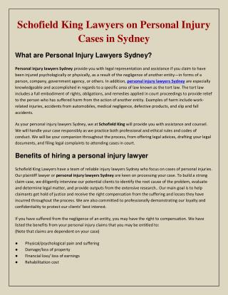 Schofield King Lawyers on Personal Injury Cases in Sydney