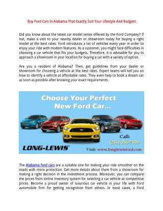 Buy Ford Cars In Alabama That Exactly Suit Your Lifestyle And Budgets