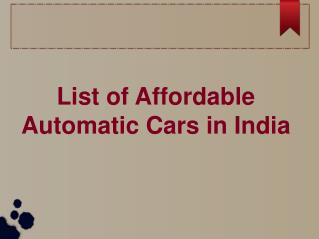 Top 3 Affordable Automatic Cars in India