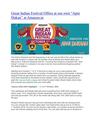 Amazon Great Indian Festival Offers - [October 1st to 5th]