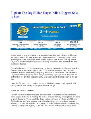Flipkart The Big Billion Days ---- India's Biggest Sale is Back 2nd to 6th Oct 2016
