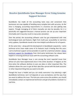 Resolve QuickBooks Sync Manager Error Using Genuine Support Services