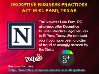 Deceptive Business Practices Act in El Paso, Texas