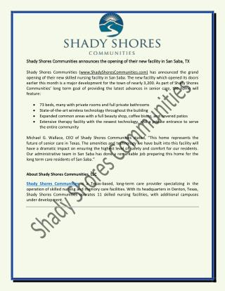 Shady Shores Communities announces the opening of their new facility in San Saba, TX