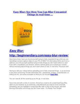 Easy Blur Review-MEGA $22,400 Bonus & 65% DISCOUNT