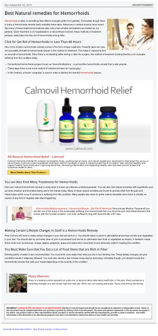 Best Natural remedies for Hemorrhoids