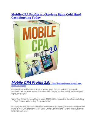 Mobile CPA Profits 2.0 review and sneak peek demo