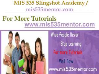 MIS 535 Slingshot Academy / mis535mentor.com