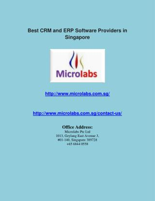 Best CRM and ERP Software Providers in Singapore
