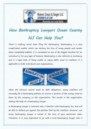 How Bankruptcy Lawyers Ocean County NJ Can Help You