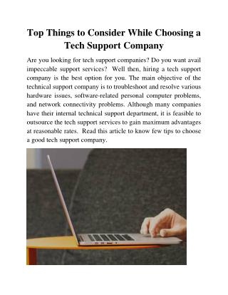 Top Things to Consider While Choosing a Tech Support Company