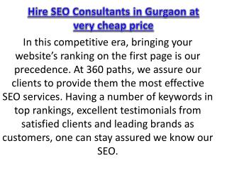Hire SEO Consultants in Gurgaon at very cheap price