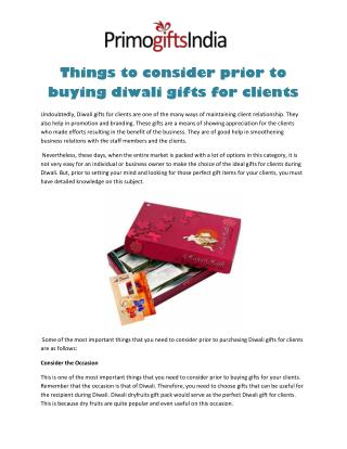 Things to Consider Prior to Buying Diwali Gifts for Clients
