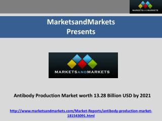Antibody Production Market Projected to Reach 13.28 Billion USD by 2021