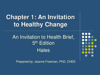 Chapter 1: An Invitation to Healthy Change