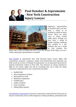 Paul Dansker & Aspromonte - New York Construction Injury Lawyer