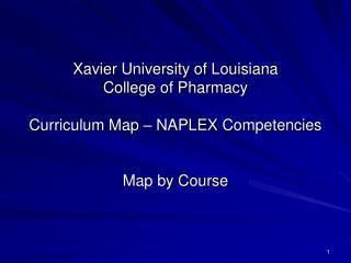 Xavier University of Louisiana College of Pharmacy  Curriculum Map   NAPLEX Competencies