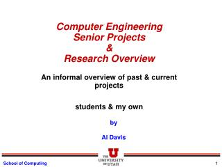Computer Engineering  Senior Projects  Research Overview