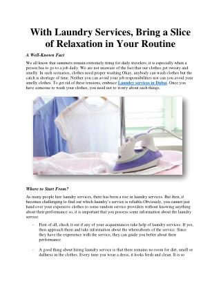 With Laundry Services, Bring a Slice of Relaxation in Your Routine
