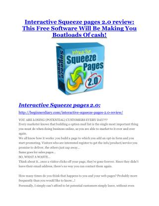 Interactive Squeeze pages 2.0 Reviews and Bonuses-- Interactive Squeeze pages 2.0