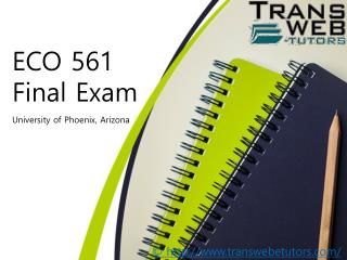 ECO 561 Final Exam - ECO 561 Final Exam questions and Answers | Transweb E Tutors
