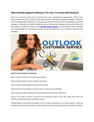 Why Outlook Support Emphasize The User To Create Mail Backup?