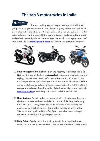 The top 3 motorcycles in India!